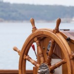 36909340 - old boat steering wheel from wood